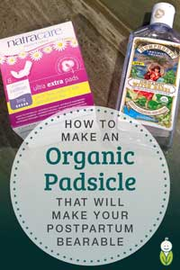 how to make organic postpartum padsicle