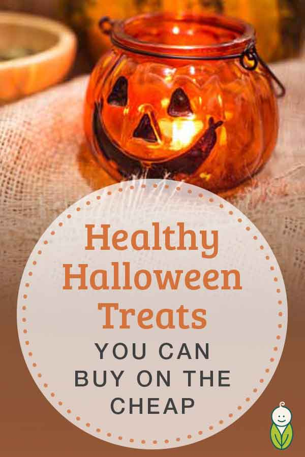 healthy cheap halloween treats header with pumpkin