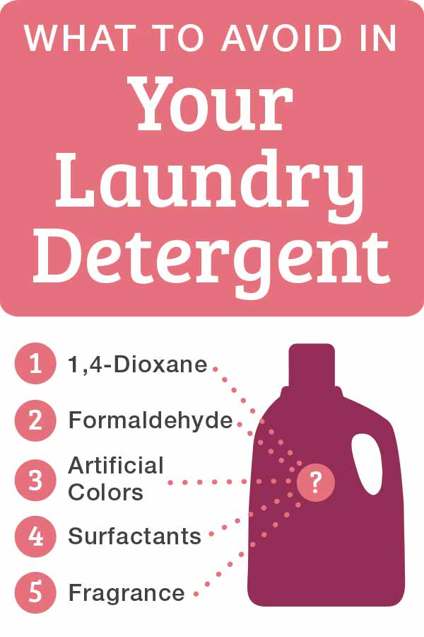 5 ingredients to avoid in laundry detergent 1,4-Dioxane, Formaldehyde, Artificial Colors, Surfactants, and Fragrance