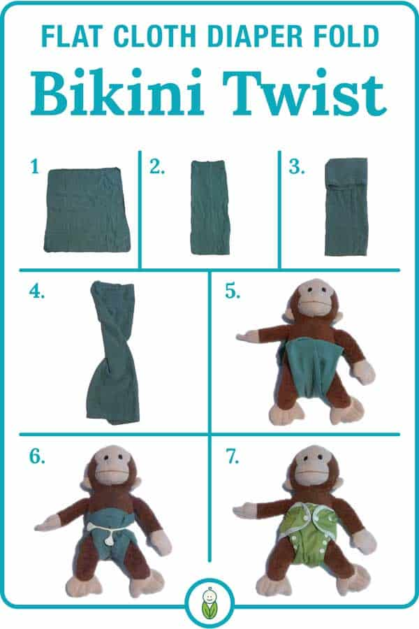 how to flat cloth diaper fold bikini twist